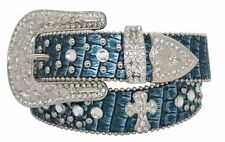 Showman Western Metallic Teal Snake Print Belt w/Removable Buckle FREE SHIP