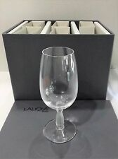 LALIQUE SET OF SIX 6 SMALL WINE GLASSES IN BOX & BOOKLET NEVER USED NOS