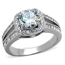 TK2043PB ENGAGEMENT SIMULATED DIAMOND RING CLEAR SOLITAIRE LADIES PAVE ALL SIZES