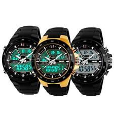 Mens Silicone Band Analog Digital LED Date Day Alarm Sport Quartz Wrist Watch