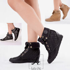 WOMENS LADIES  HIGH TOP ANKLE BOOTS TRAINERS MID HEEL WEDGE PLATFORM SIZE