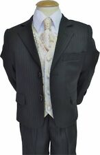 Boys Suits 5-Piece Black & Light Blue Pinstripe Suit With Gold Waistcoat formal