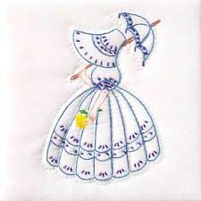 Stamped White Quilt Blocks 9 Inch X 9 Inch 12/Pkg-Parasol Lady 013155482041
