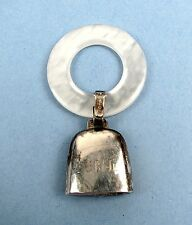 Vintage Sterling Silver Webster MOP Mother of Pearl Teething Ring Baby Rattle