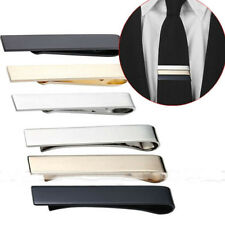 Tie Clip Mens Boys Stainless Steel Clasp Bar Wedding Neck Silver Black Gold 4cm
