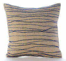 Ocean Waves 30x30 cm Burlap Blue Decorative Cushion Cover - Sea King