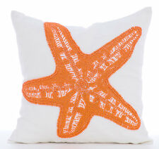 Starfish Makeover - White Cotton Linen 35x35 cm Throw Cushion Covers