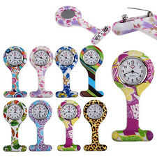 Patterned Silicone Nurses Brooch Tunic Fob Pocket Watch Stainless Dial Candid