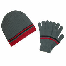 New CTM Men's Knit Striped Beanie and Gloves Winter Set