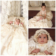 New Vintage Infant Baptism Dresses Soft Lace Baby Christening Gown+Bonnet Custom