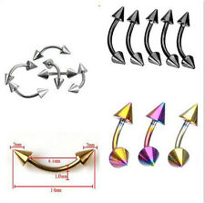 Stainless Steel Spike Curved Barbell Lips Eyebrow Rings Tragus Body Piercing