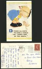 MABEL LUCIE ATTWELL 1951 Old Postcard Girl PIG Piglet Here's 2 of the Sorts 1670