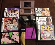 Nintendo DS Lite Pink Handheld Game Chargers 5 Games Case LPS Cover & Stylus