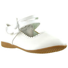 Girls Mary Jane Bow Accent Casual Comfort Ballet Flats White