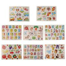 8 Patterns Wooden Peg Jigsaw Puzzles Baby Toddler Preschool Educational Toy Gift