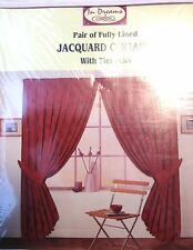 Pair of fully lined Jacquard curtains with tiebacks