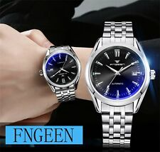 Mens Silver Stailess Steel Skeleton Wrist Automatic Watch Mechanical Date Sport