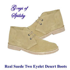 Mens Boys Genuine Camel Leather Suede Two Eye Desert Boots Sizes 6-14