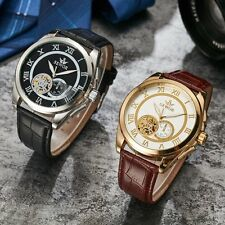 Mens Leather Tourbillo Skeleton Automatic Watch New Wrist Mechanical Roman Sport