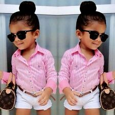 New Baby Kids Girl's Two-piece Cute Stripe Shirt and Solid Shorts CYBD01