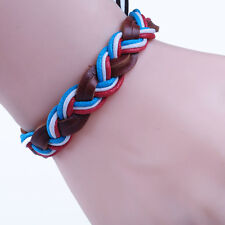 B Braided Men Leather MultiWrap Hemp Surfer Tribal Wristband Bracelet GM097 ZB1