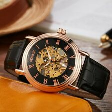 Mens Leather Roman Dial Stainless Skeleton Wrist Mechanical Watch Steampunk Gift