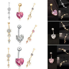 3pcs/Set Womens Belly Button Navel Ring Bar Crystal Dangle Body Piercing Jewelry