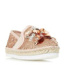 Dune Ladies GLORIOUS Sequin Embellished Espadrille Shoe in Rose Gold