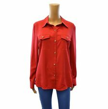 NEW WINDSMOOR RED CREPE BUTTON UP SHIRT LONG SLEEVE SIZE 12 14 16 18 20 22