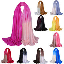 Women Long Voile Scarf Soft Gradient Pashmina Glitter Wrap Shawl Stole Scarf Hot