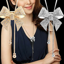 Lady Sweet Dazzle Rhinestone Bowknot Pendant Long Necklace Sweater Chain Candid