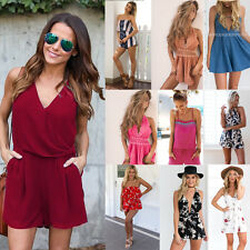 UK Mini Playsuit Ladies Jumpsuit Summer Holiday Beach Dress Shorts Sexy Womens