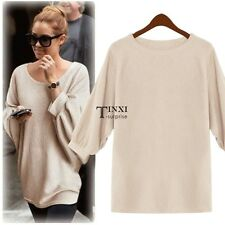 Fashion Lady Women's O-neck Batwing Sleeve Loose Tops Pullover Sweater TXSU