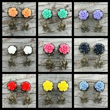 Pair Of ROSE DANGLE SPIDER GAUGES PLUGS Choice of 9 Colors
