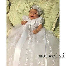 Vintage Infant Baptism Dresses Soft Lace Baby Ivory White First Communion Custom