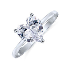Bling Jewelry Sterling Silver Heart Shaped CZ Solitaire Engagement Ring