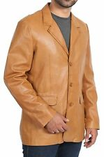 Mens Tan Blazer Leather Jacket Classic Casual Fitted Soft Gents Leather Coat Jim