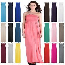 New Womens Ladies Strapless Maxi Dress Sheering Boobtube Bandeau Long Plus Size