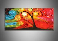 Hand Painted Framed Tree Oil Painting Canvas Wall Art Abstract Landscape Picture