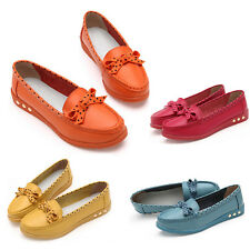 Women Leather Casual Flats Shoes Bowknot Slip On Comfort Oxfords Shoes Loafers
