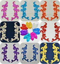 "SEQUINS APPLIQUES Belly dance LOT PAIR MIRROR  SEWING CRAFTS MOTIF 9,8"" (25cm)"