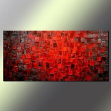 Hand Painted Modern Abstract Wall Art Texture Red Oil Painting on Canvas