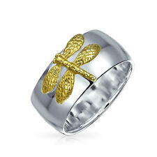 Bling Jewelry Two Tone Dragonfly Sterling Silver Gold Plated Ring
