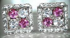 4 CORNERS ROSE & CLEAR CRYSTAL CUFFLINKS MADE W/SWAROVSKI CRYSTALS
