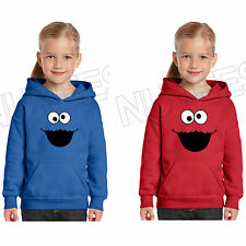 Cookie Monster Sesame Street Inspired Kids Unisex Hooded Hoodie 5-6 to 12-13