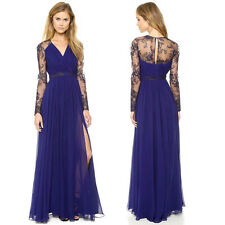 Women's Long Lace Chiffon V Neck Evening Party Cocktail Dress Bridesmaid Gown