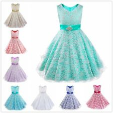 Pageant Flower Girl Dress Wedding Bridesmaid Formal Prom Graduation Lace Gown