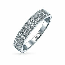 Bling Jewelry Clear CZ Half Eternity Double Row Band Sterling Silver Ring