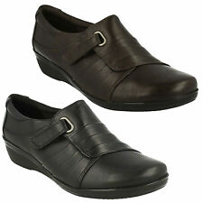 EVERLAY LUNA LADIES CLARKS LEATHER RIPTAPE WEDGE HEEL CASUAL TROUSER WORK SHOES
