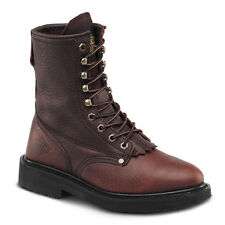 "Mens Brown 8"" Kiltie Lacer Steel Toe Leather Work Boots BAT-817 Size 5-13 (D, M)"